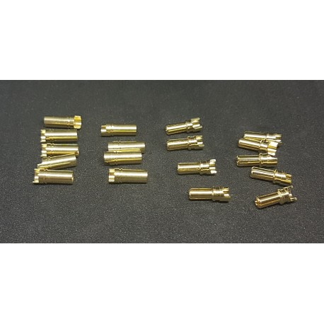 FX0084-9   3.5mm Bullet Plug Gold Connector - Family bag  (9M+9F)