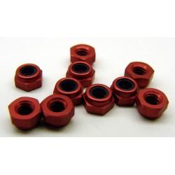 1412 - Red anodized aluminum locknuts 3/16 hex, 4-40 thread